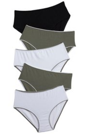 5 Pack of Panties - Khaki, Black & White