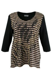 Striped Front Glitter Grommet Knit Top