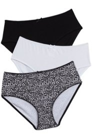 3 Pack of Panties - Black, White, Print