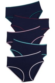 5 Pack of Panties - Dark Blue with Accent Trim