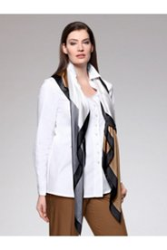 Satin Piped Stretch Shirt