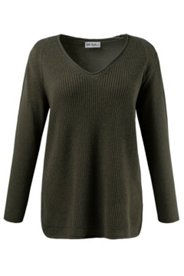 Ribbed Front V-Neck Sweater