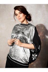 Satin Print Inset Sweater