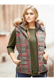 Plaid Fur Trim Vest