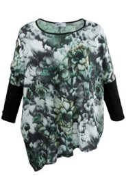 Green Floral Print Oversized Blouse
