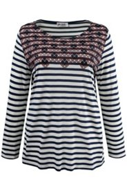 Stripe Top Border Print Knit Top