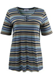 Small Button Placket Striped Tee