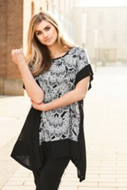 Feather Print Poncho Style Blouse