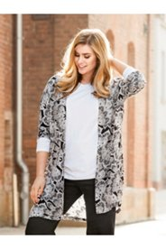 Feather Print Open Front Duster
