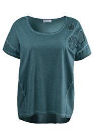 Oil Dyed Floral Applique Tee