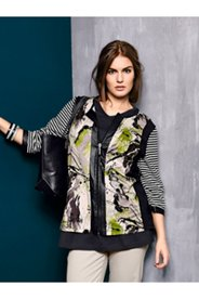 Mixed Print Zip Knit Jacket