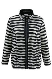 Striped Overlock Stitch Knit Jacket
