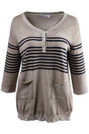 Henley Button Stripe Accent Sweater