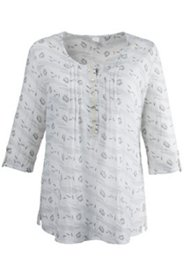 Pintuck Sketch Print Blouse
