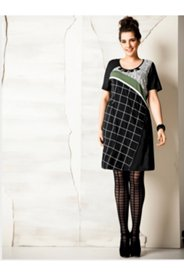 Colorblock Jewel Neck Knit Dress