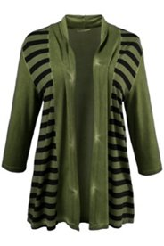 Striped Colorblock Knit Open Front Jacket