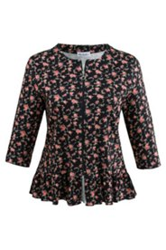 Floral Print Zip Ruffle Knit Jacket