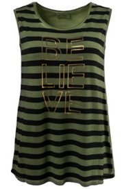 Oil Dyed Striped Believe Tank