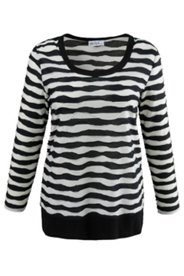 Striped Overlock Stitch Knit Top