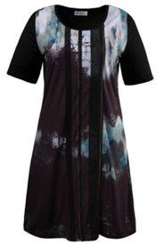 Print Mesh Zipper Accent Knit Dress