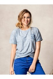 Heathered Print Pocket Top