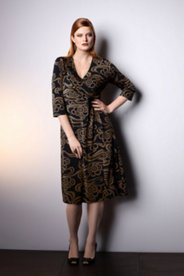 Scroll Print Knit Dress