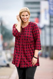 Plaid Babydoll Knit Tunic