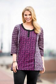 Purple Toned Mixed Print Knit Tunic