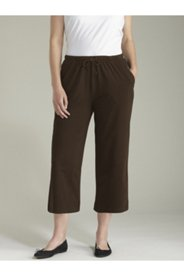 Stretch Knit Drawstring Cropped Pants