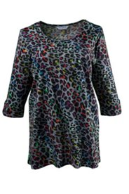 Multicolor Animal Print Roll Sleeve Tunic