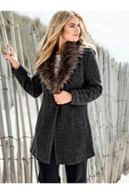 Faux Fur Collar Knit Jacket