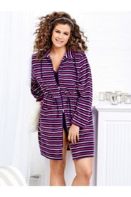 Patch Pocket Striped Terry Bathrobe