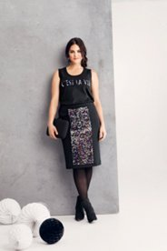 Sequin Panel Knit Skirt
