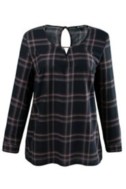 Plaid V-Inset Blouse