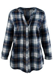 Pintuck Plaid Blouse