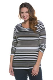 Taupe Striped L/S Tee