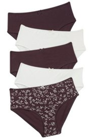 5 Pack of Panties - Floral Black/Brown
