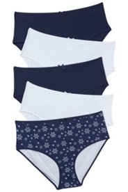 5 Pack of Panties - Navy Snowflake
