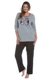 Penguin & Plaid Pajama Set