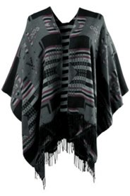 Navajo Design Open Front Poncho