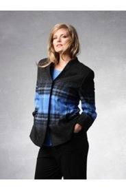Plaid Boiled Wool Blend Jacket