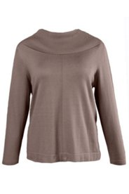 Ribbed Roll Collar Seamed Sweater