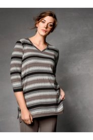 V-neck Taupe Tone Stripe Top