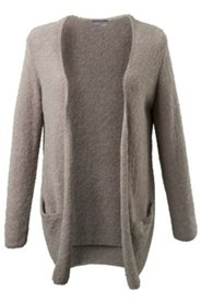 Boucle Open Front Pocket Cardigan Sweater