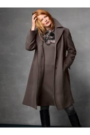 Notch Collar Seam Wool Blend Coat