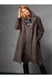 Notch Collar Seam Wool Blend Coat