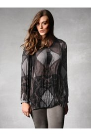 Geo Graphic Crinkle Blouse