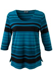 Shades of Petrol Stripe Knit Top