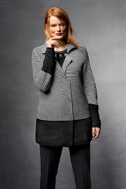 Houndstooth Colorblock Sweater Jacket