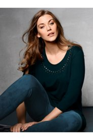 Beaded Neck Stretch Knit Top